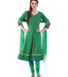 Buy GREEN embroidered Cotton stitched salwar with dupatta readymade-suit online