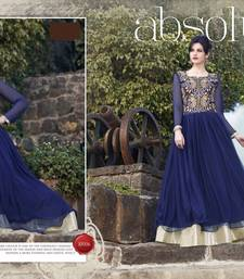 Buy BLUE embroidered georgette semi stitched gown without dupatta party-wear-gown online
