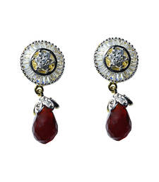 Buy Beautiful Red Stone Baguette Setting earring danglers-drop online