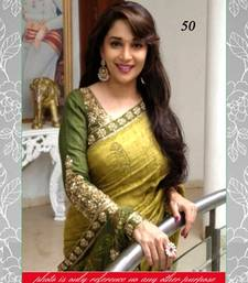 Buy Mehendi and Green embroidered Bhagalpuri saree with blouse madhuri-dixit-saree online