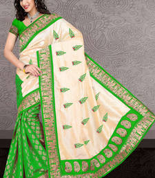 Buy GREEN brasso velvet saree with blouse bhagalpuri-silk-saree online