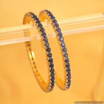 Buy Embellished Gold Look Blue Sapphire Single Line