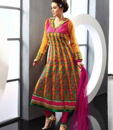 Buy Yellow embroidered Silk Cotton stitched salwar with dupatta readymade-suit online