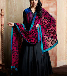 Buy Black embroidered Crepe stitched salwar with dupatta readymade-suit online