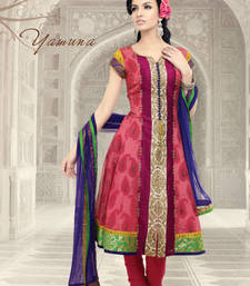 Buy Red embroidered Silk Cotton stitched salwar with dupatta readymade-suit online
