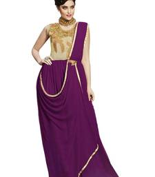 Buy Purple and Cream Embroidery Georgette semi stitched salwar with dupatta party-wear-gown online