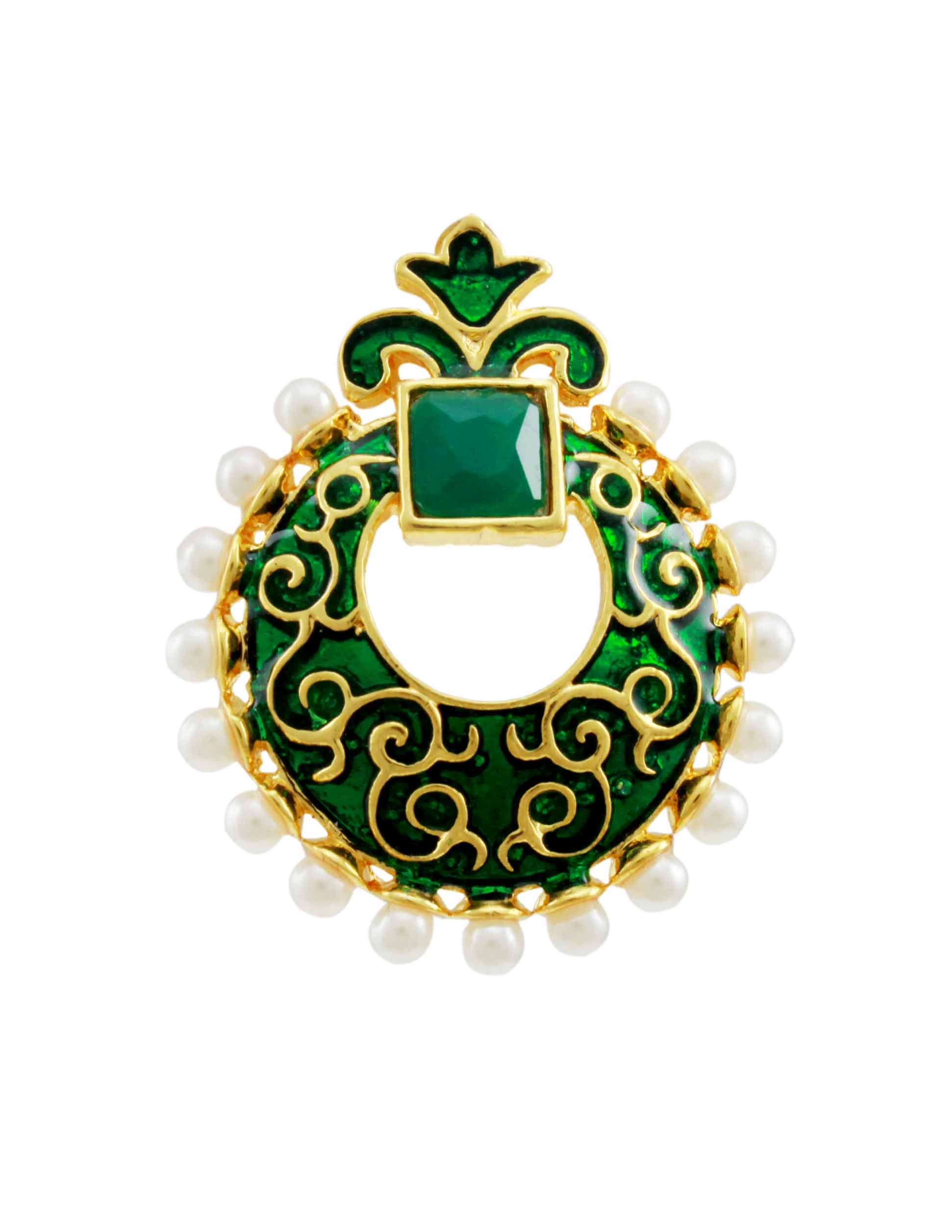 buy enchanting rajwadi chaand bali emerald earrings