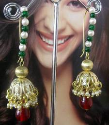 Buy Brass_Jhumka_Green_Maroon_Beads_earrings jhumka online