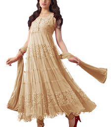 Buy Cream Brasso Brasso and Net semi stitched salwar with dupatta anarkali-salwar-kameez online