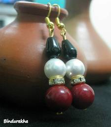 Buy Red_White_Shell_Pearl_Onyx_Earrings danglers-drop online