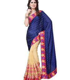 Buy Blue And Beige Embroidered georgette saree with blouse brasso-saree online