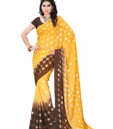 Buy Yellow And Brown Printed jacquard saree with blouse brasso-saree online
