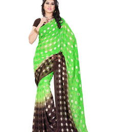 Buy Green And Brown Printed jacquard saree with blouse brasso-saree online