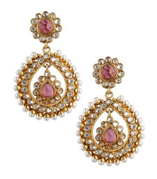 Buy Rani dark pink tear drop dangler pearl polki earring c162r danglers-drop online
