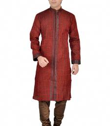Buy Red and Brown Banarasi Silk Embroidered Readymade Kurta Pajama kurta-pajama online