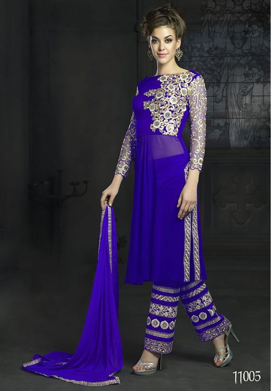 Blue embroidered georgette semi stitched salwar with dupatta online