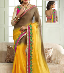 Buy Yellow and Brown embroidered satin saree with blouse bridal-saree online