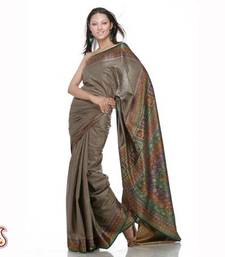 Buy Greenish grey pure silk sari cotton-saree online
