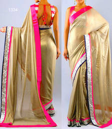 Buy golden plain georgette saree with blouse katrina-kaif-saree online