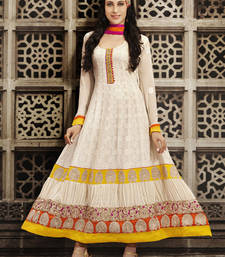 Buy Off White embroidered Pure Georgette semi stitched salwar with dupatta party-wear-salwar-kameez online