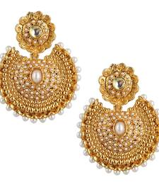 Buy Ethnic kundan like earrings with pearls a74 danglers-drop online