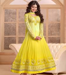 Buy Yellow embroidered georgette semi stitched salwar with dupatta eid-sarees-dress online