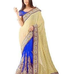 Buy Blue embroidered jacquard saree with blouse viscose-saree online