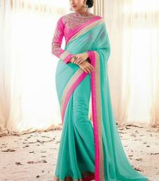 Buy Green embroidered Georgette saree with blouse eid-sarees-dress online