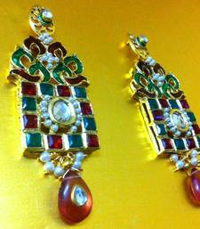 Buy Truly Unique Earring with Red Green Pattern and Kundan by ADIVA VI113 Earring online