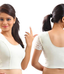 Buy White lycra stretchable Blouse & crop top-L readymade-blouse online