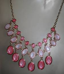 Buy Shimmery  baby pink tone statement necklace  Necklace online