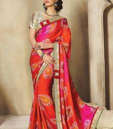 Buy Red and Pink embroidered georgette saree with blouse bandhani-sarees-bandhej online
