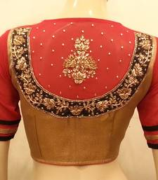 Buy Gold and red georgette sleeves handwork bridal-blouse online