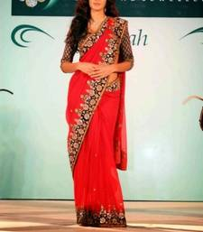 Buy Red embroidered Chiffon saree with blouse katrina-kaif-saree online