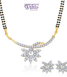 Buy Sukkhi Modern Gold and Rhodium plated CZ Mangal Sutra Set  mangalsutra online