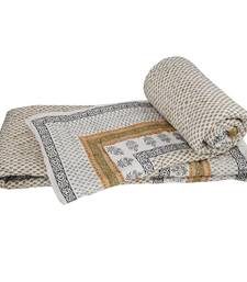 Buy Pure Cotton Sanganeri Print Single Bed Quilts jaipuri-razai online