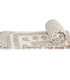 Buy Ethnic Jaipuri Cream Cotton Single Bed Quilts jaipuri-razai online