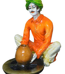 Buy Multicolor Rajasthani Men Making Pots sculpture online