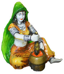 Buy Rajasthani Lady Making Mirchi sculpture online