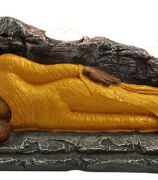 Buy Sleeping Buddha with T Lite in Gold Yellow sculpture online