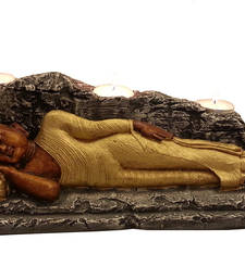 Buy Sleeping Buddha with T lite in Golden new-year-gift online