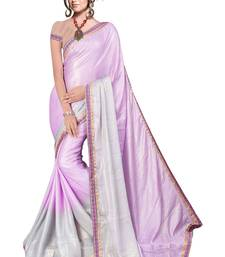 Buy Purple printed satin saree with blouse satin-saree online