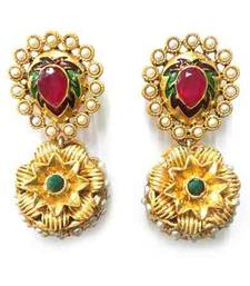 Buy Ruby Green Sunflower Ball Earring jhumka online
