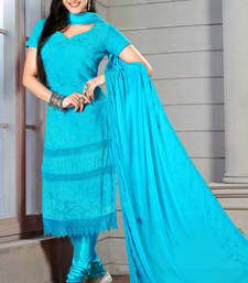 Buy sea green embroidered Chiffon semi stitched salwar with dupatta party-wear-salwar-kameez online