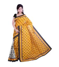 Buy yellow printed silk saree with blouse bhagalpuri-silk-saree online