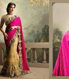 Buy Pink and chiku embroidered chiffon saree with blouse wedding-saree online