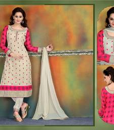 Buy Cream and Pink embroidered georgette semi stitched salwar with dupatta pakistani-salwar-kameez online