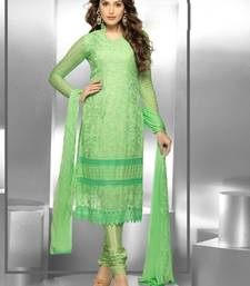 Buy Green Embroidered Chiffon unstitched salwar with dupatta dress-material online
