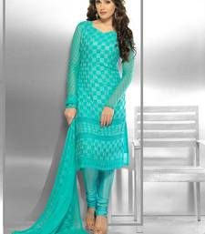 Buy Blue Embroidered Chiffon unstitched salwar with dupatta dress-material online