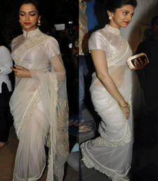 Buy Deepika Padukone White Heavy Stylish designer saree with blouse deepika-padukone-saree online